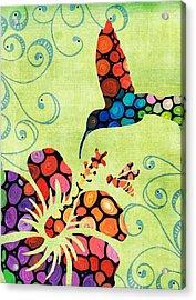 Nature's Harmony 2 - Hummingbird Art By Sharon Cummings Acrylic Print by Sharon Cummings