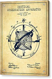 Nautical Observation Apparatus Patent From 1895 - Vintage Acrylic Print by Aged Pixel
