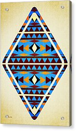 Navajo Blue Pattern Aged Acrylic Print by Christina Rollo