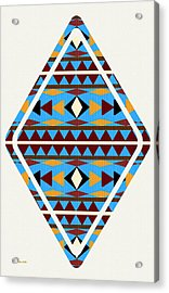 Navajo Blue Pattern Art Acrylic Print by Christina Rollo
