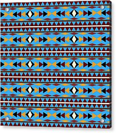 Navajo Blue Pattern Acrylic Print by Christina Rollo