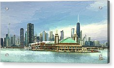 Navy Pier Chicago --winter Acrylic Print by Doug Kreuger