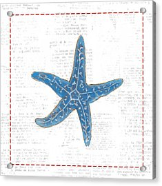 Navy Starfish On Newsprint With Red Acrylic Print by Emily Adams