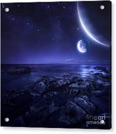 Nearby Planets Hover Over The Ocean Acrylic Print by Evgeny Kuklev