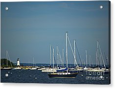 Ned's Point Lighthouse With Sailboats Acrylic Print by Amazing Jules