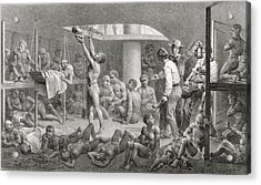 Slaves In The Bilge Acrylic Print by Johann Moritz Rugendas