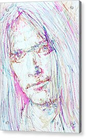 Neil Young - Colored Pens Portrait Acrylic Print by Fabrizio Cassetta