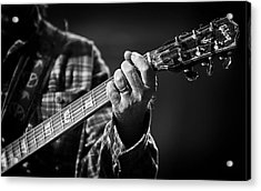 Close Up Of Neil Young's Hand Playing Guitar  Acrylic Print by The  Vault - Jennifer Rondinelli Reilly