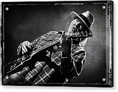 Neil Young On Guitar In Black And White With Grungy Frame  Acrylic Print by Jennifer Rondinelli Reilly