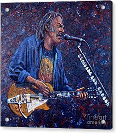Neil Young Acrylic Print by John Cruse Knotts