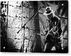 Neil Young Live In Concert Acrylic Print by The  Vault - Jennifer Rondinelli Reilly