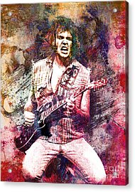 Neil Young Original Painting Print Acrylic Print by Ryan Rock Artist