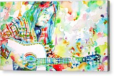 Neil Young Playing The Guitar - Watercolor Portrait.1 Acrylic Print by Fabrizio Cassetta