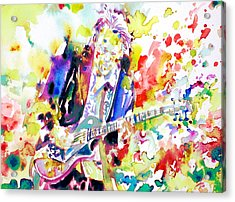 Neil Young Playing The Guitar - Watercolor Portrait.2 Acrylic Print by Fabrizio Cassetta