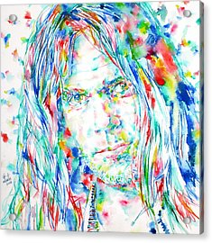 Neil Young - Watercolor Portrait Acrylic Print by Fabrizio Cassetta