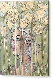 Nelumbo Acrylic Print by Fay Helfer