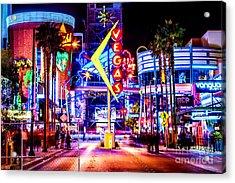 Neon Vegas Acrylic Print by Az Jackson