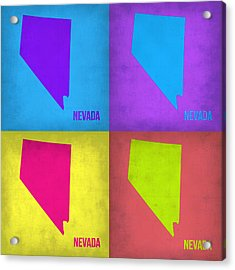 Nevada Pop Art Map 1 Acrylic Print by Naxart Studio