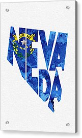 Nevada Typographic Map Flag Acrylic Print by Ayse Deniz