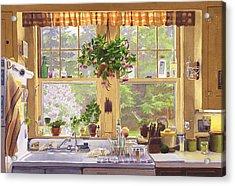 New England Kitchen Window Acrylic Print by Mary Helmreich
