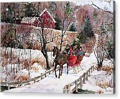 New England Sleighride Acrylic Print by Sherri Crabtree