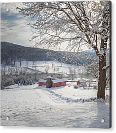 New England Winter Farms Morning Square Acrylic Print by Bill Wakeley