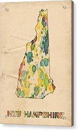 New Hampshire Map Vintage Watercolor Acrylic Print by Florian Rodarte