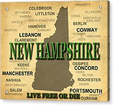 New Hampshire State Pride Map Silhouette  Acrylic Print by Keith Webber Jr