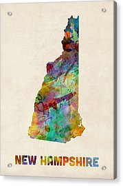 New Hampshire Watercolor Map Acrylic Print by Michael Tompsett