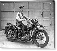 New Jersey Motorcycle Trooper Acrylic Print by Underwood Archives