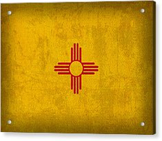 New Mexico State Flag Art On Worn Canvas Acrylic Print by Design Turnpike