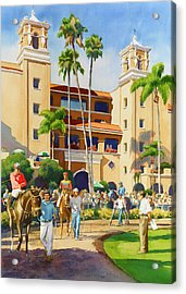 New Paddock At Del Mar Acrylic Print by Mary Helmreich