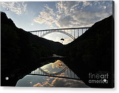 New River Bridge -  Base Jumper Acrylic Print by Dan Friend