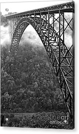 New River Gorge Bridge Black And White Acrylic Print by Thomas R Fletcher