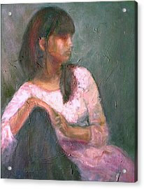 New Year's Blossom - Textural Original Oil On Canvas Portrait Acrylic Print by Quin Sweetman