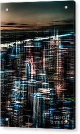 New York - The Night Awakes - Dark Acrylic Print by Hannes Cmarits