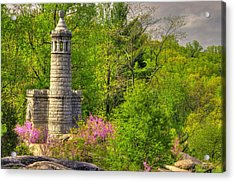 New York At Gettysburg - Monument To 12th / 44th Ny Infantry Regiments-1a Little Round Top Spring Acrylic Print by Michael Mazaika