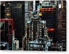 New York At Night - Skyscrapers And Office Windows Acrylic Print by Miriam Danar