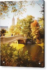 New York Autumn - Central Park - Bow Bridge Acrylic Print by Vivienne Gucwa