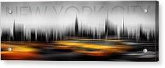 New York City Cabs Abstract Acrylic Print by Az Jackson
