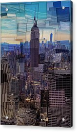 New York City Cubism Acrylic Print by Dan Sproul