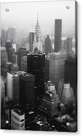 New York City - Fog And The Chrysler Building Acrylic Print by Vivienne Gucwa