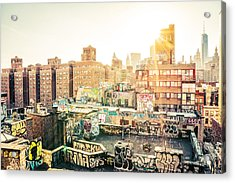 New York City - Graffiti Rooftops Of Chinatown At Sunset Acrylic Print by Vivienne Gucwa