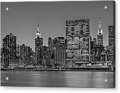 New York City Landmarks Bw Acrylic Print by Susan Candelario