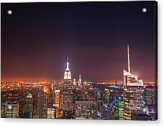 New York City Lights At Night Acrylic Print by Vivienne Gucwa