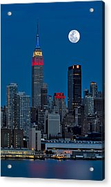 New York City Moonrise  Acrylic Print by Susan Candelario
