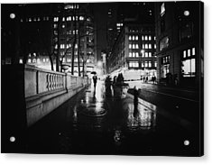 New York City - Night Rain Acrylic Print by Vivienne Gucwa