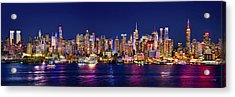 New York City Nyc Midtown Manhattan At Night Acrylic Print by Jon Holiday