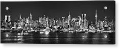 New York City Nyc Skyline Midtown Manhattan At Night Black And White Acrylic Print by Jon Holiday