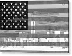 New York City On American Flag Black And White Acrylic Print by Dan Sproul